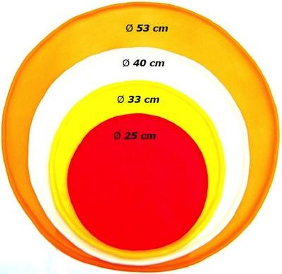 ピザ回しラバーのサイズ比較